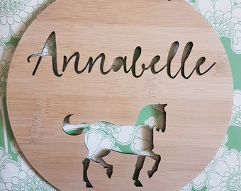 Personalised Wooden Wall / Door Hanging - Horse / Pony 14cm or 19.5cm-wall hanging-wall art-wooden sign-custom-kids gift-baby gift-lasercut