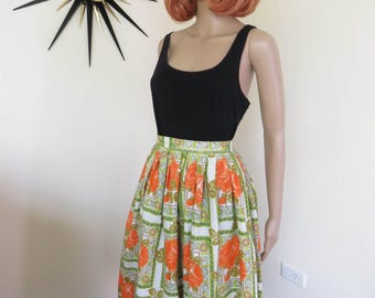 Vintage 50s / 60s cotton skirt - orange roses and floral square pattern