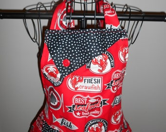 Fresh Seafood and Crawfish - Women's Apron - Ruffle - Pocket - Cooking - Food - Lobster - Crab