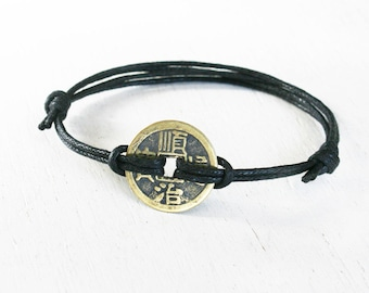 Ancient Chinese Coin Bracelet (many colors to choose)