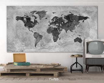Push Pin World Map, CANVAS Print, Extra Large World Map, Push Pin Travel Map, Rustic World Map, Antiques Map, Wanderlust, Travel Love-964