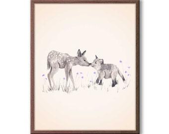 Woodland Nursery Art, Baby Deer Watercolor, Purple and Gray Nursery Decor, Baby Fox Painting, Baby Girl Nursery, Animal Painting - D18