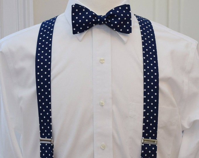 Men's Suspenders and Bow Tie set, navy with white polka dots, custom handmade men's suspenders, wedding party menswear, clip on suspenders