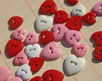 "Heart Buttons Red Pink White Assorted Sizes - Sewing Hearts Button - 3/8"" to 1/2"" Wide - 25 Buttons"