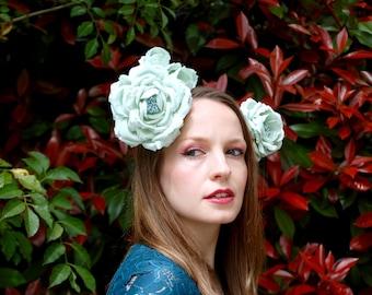 Mucha Inspired Soft Spearmint Blue Flower Wreath Headdress Fascinator