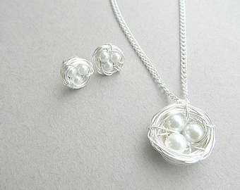 Wire Birds Nest Stud Earrings and Necklace Set