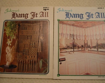 vintage  collection of two Macramé instruction booklets . . Juliano's Hang It All . . 70's . . excellent vintage condition . . FREE SHIPPING