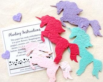 12 Unicorn Birthday Party Favors - Seed Paper Plantable Unicorns - Fairy Princess Birthday Favor - Baby Shower Favors