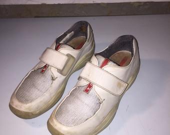 PRADA vintage futuristic light grey sneakers size 38.5