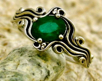 Dark Green Emerald Engagement Ring in 14K White Gold in Ocean Sea Surf Setting with Black Waves Size 5
