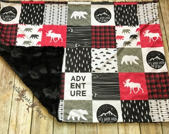 Buffalo Plaid Adventure Blanket- Moose Blanket- Woodland Nursery- Lumberjack Blanket- Minky Baby Blanket- Baby Boy Blanket