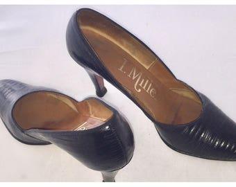 Vintage I. MILLER Black Genuine Reptile 3 Inch Heel Pumps Sz 6.5 AA