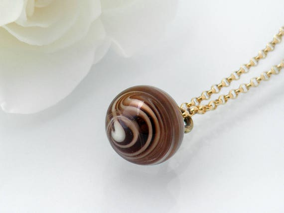 Victorian Drop Pendant | Unique Coffee, Cream Swirl Glass 'Charm String' Necklace, Antique Glass Charm String Button Pendant - 20 Inch Chain