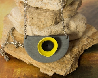 Grey Yellow Necklace Statement necklace, modern necklace, geometric necklace, contemporary jewelry, eco friendly, half circle necklace