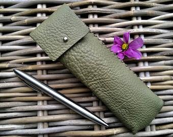 Handmade in UK Artisan soft light green leather pen case pen holder with silver stud