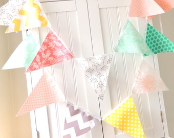 Banner, Bunting, Fabric Pennant Flag Wedding Garland, Photo Prop Baby Shower, Nursery Shower Decor Emerald, Peach, Mint, Grey, Yellow, Coral