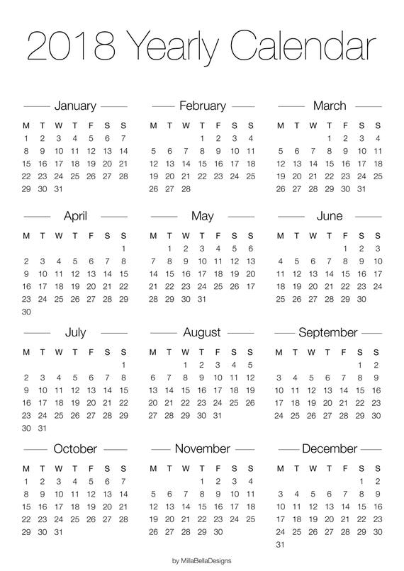 Year Calendar Small : Printable yearly overview calendar