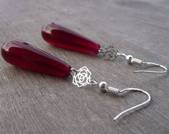 Earrings 925 sterling silver Burgundy agate bead