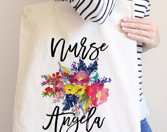 Nurse Tote Bag Personalized Tote Bag Gift For Nurse Nursing is a Work of Heart Floral Tote bag Canvas Tote bag Statement Tote bag Nurse Bag