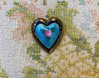 Vintage Heart Photo Locket. Painted Necklace with Pink Rose. Photograph.
