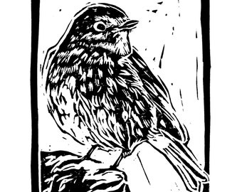 """Original, Unframed, Hand Pulled, Linocut Print - Robin - 6""""x4"""" on A5 Paper - lino ink paper"""