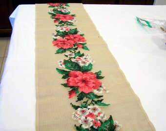 Bucilla Decorator Needlepoint roses, table runner, canvas backing