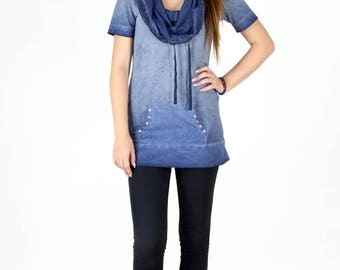 Acid Wash Cotton Short Sleeve Cowl Neck Tunic Top