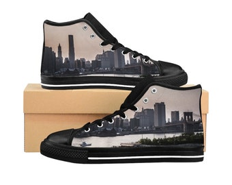 New York City MenS HighTop Sneakers Manhattan Brooklyn Bridge Mens Canvas Shoes Retro Style Canvas Sneakers Cityscape Shoes