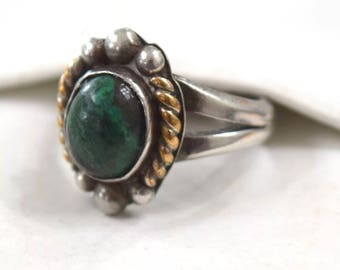 Vintage Green Turquoise Sterling Silver Ring