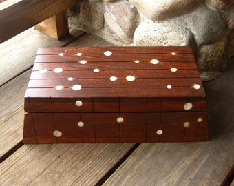 Vintage Walnut Wood Box with Mother of Pearl or Shell Inlay, Vintage Storage, Cottage Chic, FREE SHIPPING