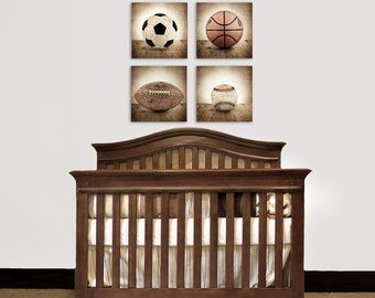 Set of Four Square Canvases  Ready to Hang, Vintage Single Baseball On Barnwood, Soccer, Football and Basketball