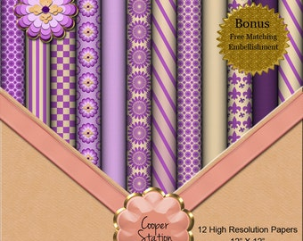 Digital Paper Pack In Purple and Yellow DP008