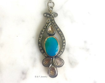 Vintage Style Turquoise And Diamond Necklace