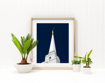 Angel Moroni on the Oquirrh Mountain Temple // You Get 5 Sizes // Instant Digital Download