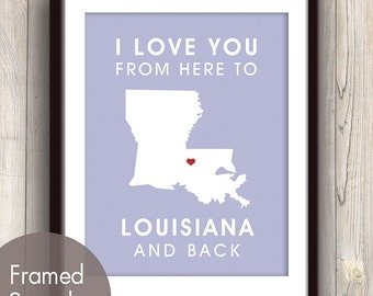 Louisiana Poster Print Map Wall Art - Unframed (featured in Orchid / Choose Color) I Love You From Here to Louisiana and Back