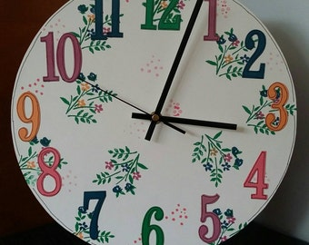 Large Numbers Clock,Pretty Flower Clock, Colourful ,Handmade,Gift,Clock,Large Numbers,Flowers,Clock,Decorated Clock,Home Decor,New House