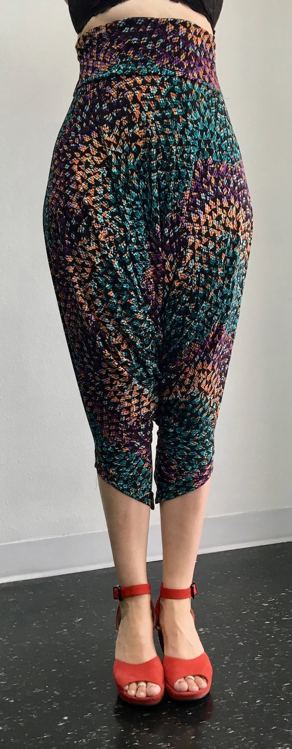 High Waisted Harem Drop Pant - Stained Glass - M/L - one of a kind