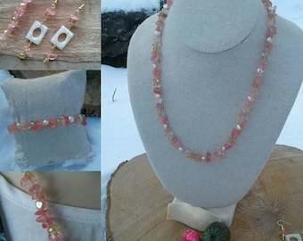 Handmade cherry quartz bead gemstone jewellery set with freshwater pearls