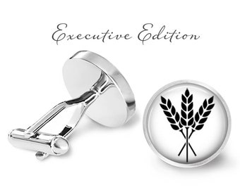 Wheat Cufflinks - Whole Wheat Cufflinks - Gluten Cuff Links - Whole Grain Cufflink (Pair) Lifetime Guarantee (S0739)