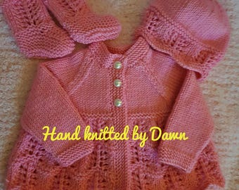 Hand Knitted Baby Cardigan, Hat & Booties, Baby Clothes, Hand Knitted Clothes, Baby Outfit
