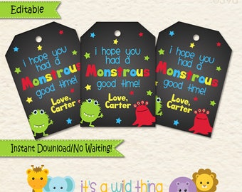 Boy Monster Favor Tags  • Monster Themed Decorations •  Monster Party • Goodie Bags • Monster Party Favors •First Birthday •Treat Bags
