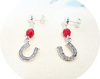 Horseshoe Earrings, Horse Shoe Earrings Post Earrings Red Earrings, Horse Show Earrings Teen Earrings Equestrian  Horse Shoe Dangles Lucky