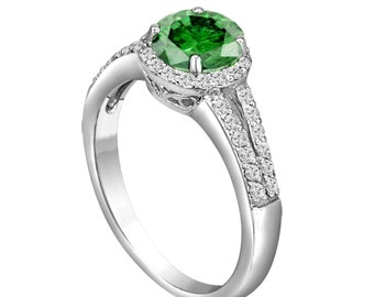 Fancy Green Diamond Engagement Ring 1.34 Carat Fancy Green & White Diamond Engagement Ring 14K White Gold Halo Certified Handmade