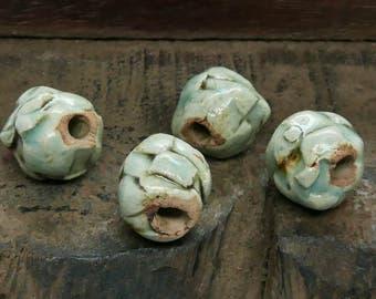 Stoneware Ceramic Beads Light Blue Green Checkered Handmade Pottery