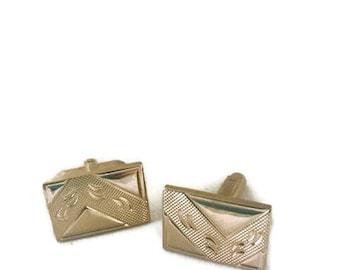 Vintage Gold Tone Etched Men's Cufflink Set
