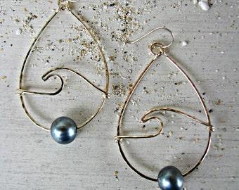Wave Hoops, Mermaid Earrings, Wave Earrings, Black Pearl Wave Hoops, Hawaii Pearl Hoops, Nautical Earrings, Beach Wedding, Bridesmaid Gift
