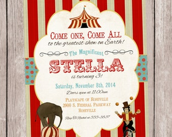 Under the Big Top, Circus Party Invitation, personalized and printable, 5x7
