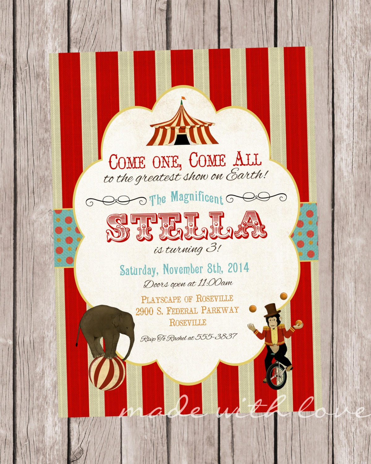 Under the Big Top Circus Party Invitation personalized and
