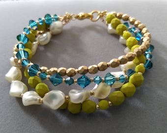 Ursula - chartreuse green, teal blue, pearl, and gold bracelet