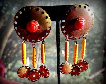 Metallic Patina Gear Earrings